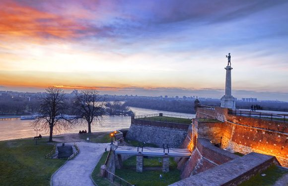 Statue of Victory with a monument in capital city Belgrade, Serbia